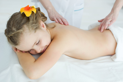 The child is given a massage